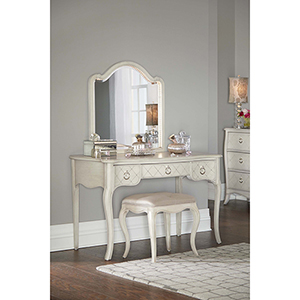 Angela Desk With Arc Lighted Vanity Mirror And Bench