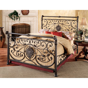 Mercer Antique Brown King Complete Bed