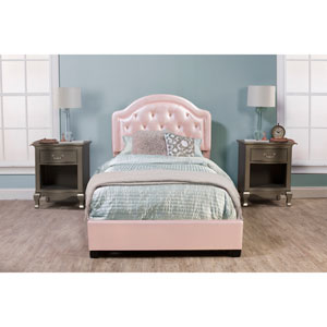 Karley Bed Set - Twin - Rails Included - Pink Faux Leather