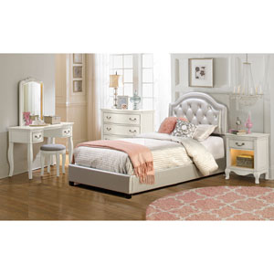 Karley Bed Set - Twin - Rails Included - Silver Faux Leather