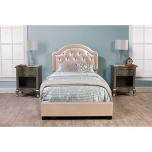 Karley Bed Set - Full - Rails Included - Champagne Faux Leather