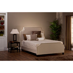 Dekland Linen Stone King Complete Bed With Rails