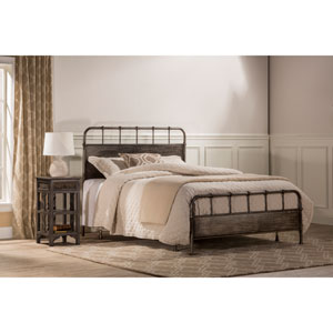 Grayson Rubbed Black Queen Complete Bed With Rails