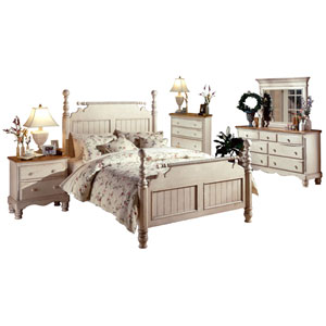 Wilshire Antique White Queen Five-Piece Post Bedroom Set