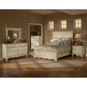 Wilshire Antique White Queen Four-Piece Panel Bedroom Set