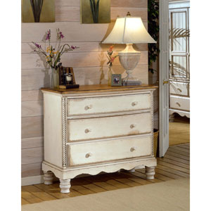 Wilshire Antique White Bedside Chest with Antique Pine Top
