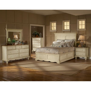 Wilshire Antique White Queen 5-Piece Bed Set