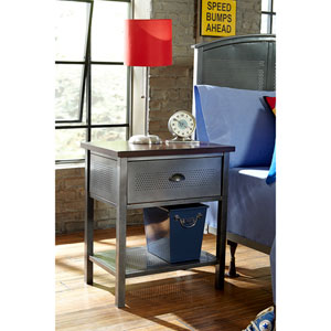 Urban Quarters Black Steel Nightstand