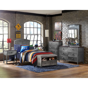 Urban Quarters Black Steel 5-Piece Panel Full Bed Set with Footboard Bench