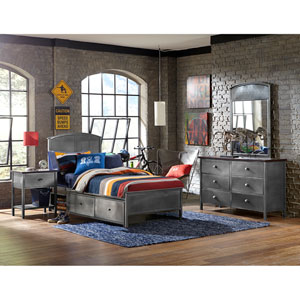 Urban Quarters Black Steel 4-Piece Set with Panel Full Storage Bed