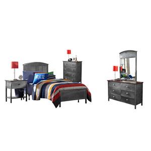 Urban Quarters Black Steel 5-Piece Panel Twin Bed Set