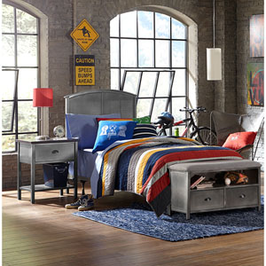 Urban Quarters Black Steel Panel Twin Complete Bed with Footboard Bench