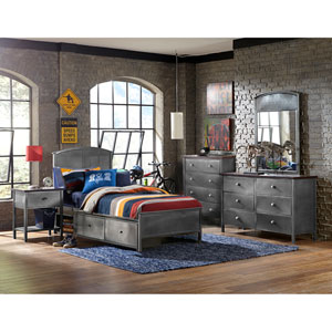 Urban Quarters Black Steel 5-Piece Set with Panel Twin Storage Bed