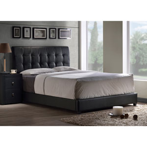 Lusso Full Bed Set with Black Faux Leather Fabric