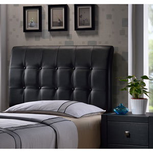 Lusso Queen Headboard with Black Faux Leather Fabric w/Rails