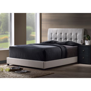 Lusso Full Bed Set with White Faux Leather Fabric
