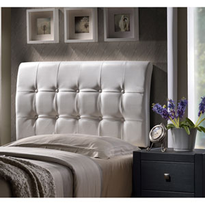 Lusso Queen Headboard with White Faux Leather Fabric w/Rails