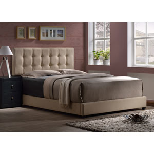 Duggan Linen Beige Twin Bed With Rails