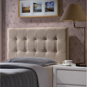 Duggan Linen Beige Twin Headboard With Frame