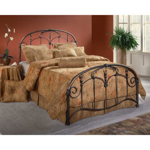 Jacqueline Old Brushed Pewter Queen Complete Bed