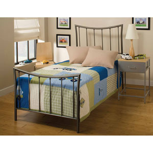 Edgewood Magnesium Pewter Twin Headboard and Footboard Without Rails