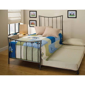 Edgewood Magnesium Pewter Twin Complete Bed with Trundle