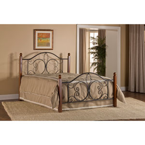 Milwaukee Textured Black and Cherry Wood Post Queen Bed