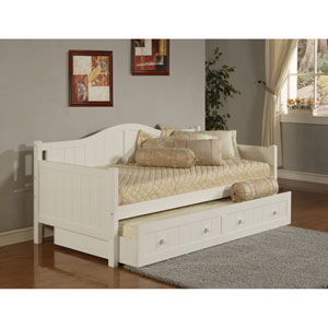 Staci White Daybed with Roll-Out Trundle