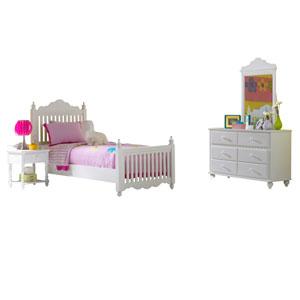 Lauren White Twin Four-Piece Post Bedroom Set