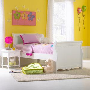 Lauren White Twin Sleigh Complete Bed
