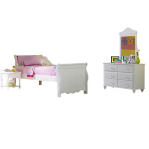 Lauren White Twin Four-Piece Sleigh Bedroom Set
