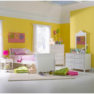 Lauren White Twin Five-Piece Sleigh Bedroom Set