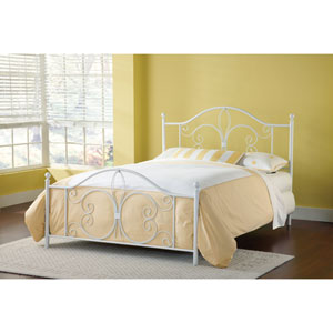 Ruby Textured White Queen Headboard and Footboard Without Rails