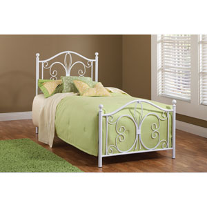 Ruby Textured White Twin Headboard and Footboard Without Rails