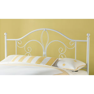 Ruby Textured White Queen Headboard with Rails