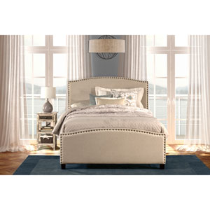 Kerstein Light Taupe Twin Complete Bed With Rails