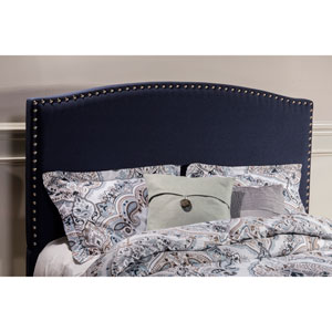 Kerstein Navy Linen King Headboard With Frame
