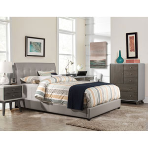 Lusso Queen Bed Set with Rails - Gray Faux Leather