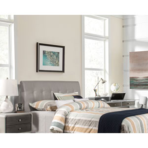 Lusso Full Headboard with Frame - Gray Faux Leather