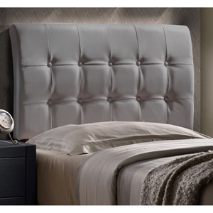 Lusso Twin Headboard with Frame - Gray Faux Leather