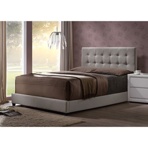 Duggan Queen Bed with Rails - Light Linen Gray Fabric