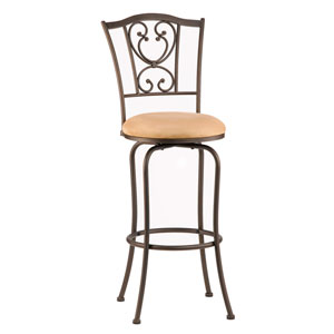 Concord Brown Scroll Center Panel Metal Counter Stool