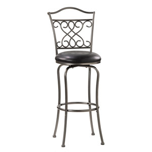 Wayland Pewter Center Scroll Metal Swivel Barstool with Black Vinyl