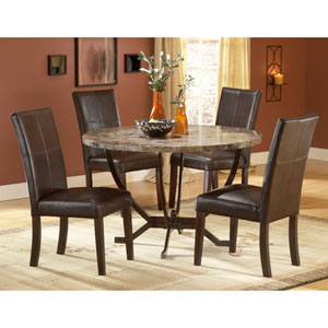 Monaco Matte Espresso Round Dining Table and Four Chairs