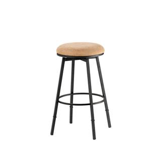 Sanders Matte Black Backless Metal Swivel Counter/Barstool with Nested Leg and Bear Microfiber