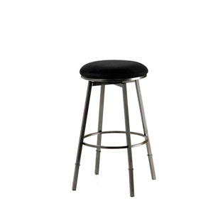 Sanders Pewter with Black Suede Backless Metal Swivel Counter/Barstool  with Nested Leg and Black Microfiber