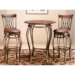 Montello Old Steel Bistro Table and Two Barstools