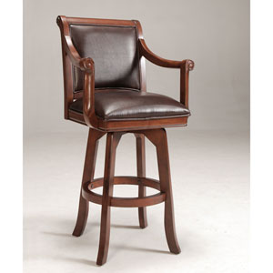 Palm Springs Medium Brown Cherry Swivel Barstool with Dark Brown Bonded Leather