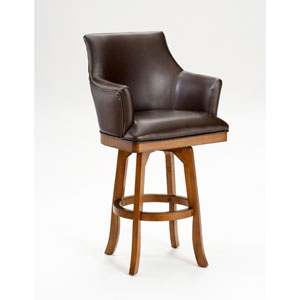 Park View Medium Brown Oak Barrel Swivel Barstool with Dark Brown Bonded Leather
