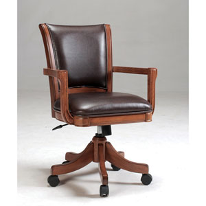 Park View Medium Brown Oak Game Chair with Dark Brown Bonded Leather with Five Star Base
